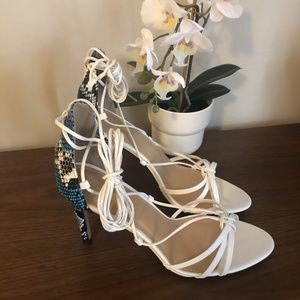 White strappy ankle tie sandals / blue snakeskin